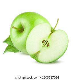 Green apple. Isolated on white background.