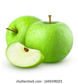 Grüner Apfel. Einzeln auf weißem Hintergrund