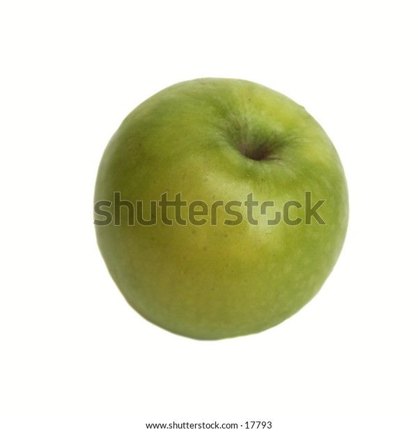 A green apple isolated on white with clipping path.