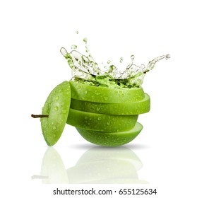 Green apple juice splashing with its fruits isolated on white background