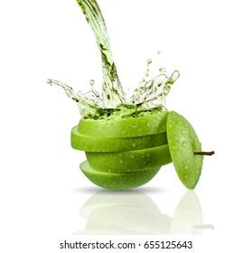 Green apple juice splashing with its fruits isolated on white background
