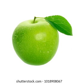 green apple with leaf isolated
