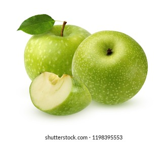 Green Apple with leaf, isolated on white background. two whole fruit and slice with shadow.