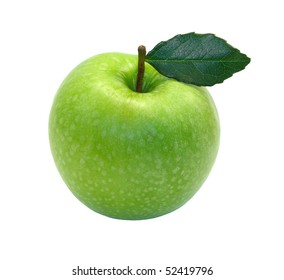 Green apple with leaf  isolated on white