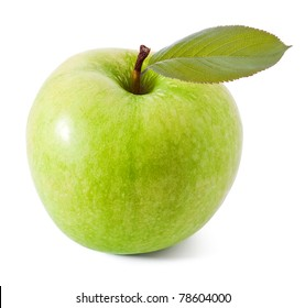 Green apple with leaf on white background
