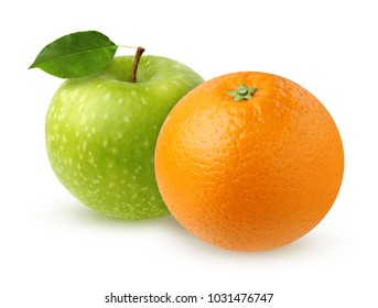 Green Apple with leaf and orange, isolated on white background. Two whole fruits with shadow.