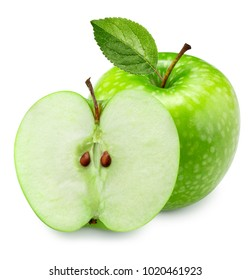 green apple with leaf and slice isolated on a white background