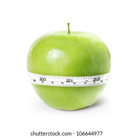 Green apple with measurement on a white background