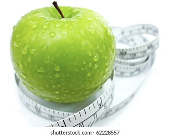 Green Apple with measuring tape