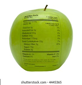 Green apple with nutrition facts printed on the skin shows healthy fruit diet for wellness and weight loss. A balanced fresh food for vitamins and nourishment.