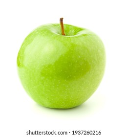 Green apple on a white background with a shadow.