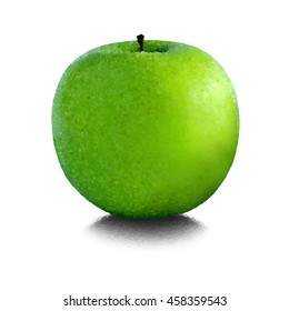 Green apple on a white background. Style Pointillism