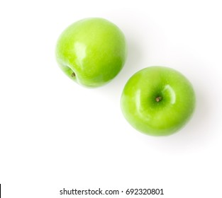 Green apple on white background, fruit healthy concept, top view