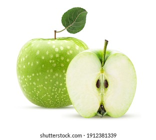 Green apple one cut in half with green leaf isolated on white background Clipping Path