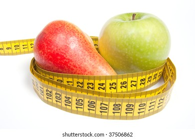 Green Apple and Pear with measuring tape, isolated on white. Diet concept