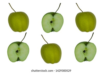 Half of green apple with the peel. Healthy, fresh apple. Half of green apple with the nucleolus. The flesh of the apples.
