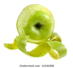 Green Apple with peelings isolated over white