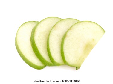 green apple sliced isolated on white background