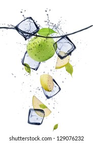 Green apple slices with ice cubes, isolated on white background