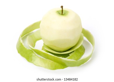 Green Apple with white background, close up shot