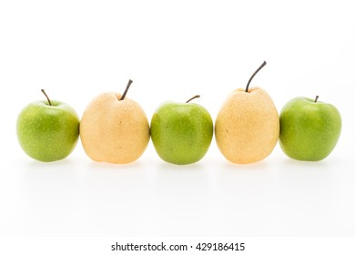 Green apple and Yellow pear fruit isolated on white background