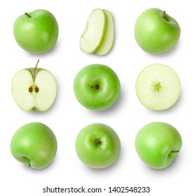 Green apples, apple half, apple slices isolated on white background. Top view. Collection.