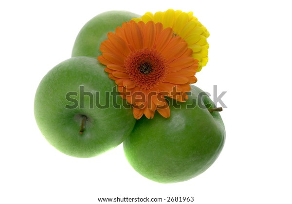 Green Apples And Flowers isolated on white