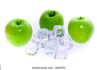 Green Apples And Ice Cubes