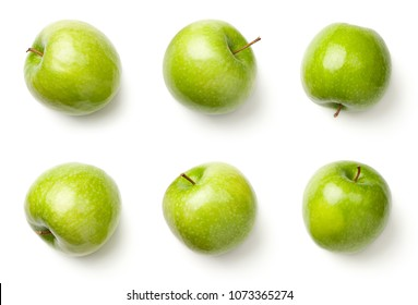 Green apples isolated on white background. Granny smith apples. Top view