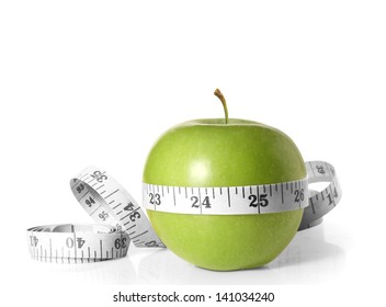 Green apples measured the meter on a white