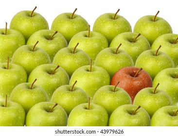 green apples with red apple