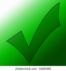 green approved tick on a soft background