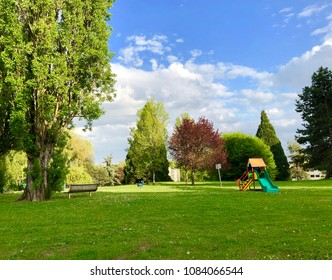 Green area  with playground at Ferney-Voltaire, France