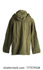 Green Army Smock Parka Jacket Back on White Background
