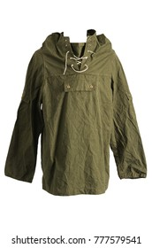 Green Army Smock Parka Jacket Front on White Background
