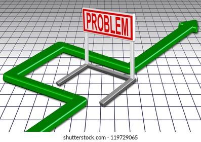 Green arrow going around a barrier spelling a word problem / Go around problem