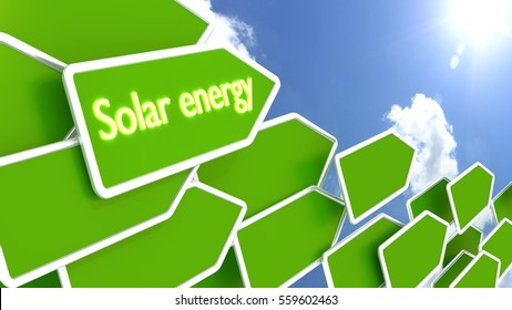 Green arrows with the words solar energy in front of a cloudy blue sky pointing towards the sun environment protection concept 3D illustration