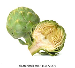 Green artichoke on white background