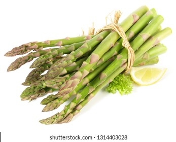 Green Asparagus on white Background