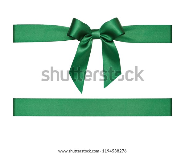 Green atin ribbon bow cut out isolated on white background, gift wrapping assets