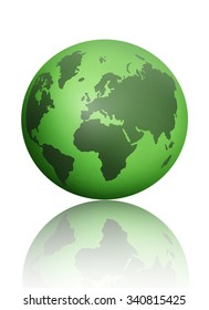 Green atlas globe map over a white background