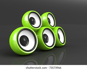 green audio system on the grey background