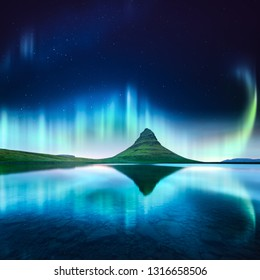 Green aurora light behind kirkjufell mountain in Iceland, Europe