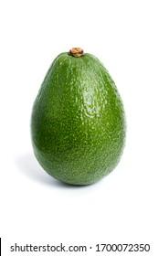Green avocado closeup on a white background