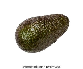 A green avocado on white background