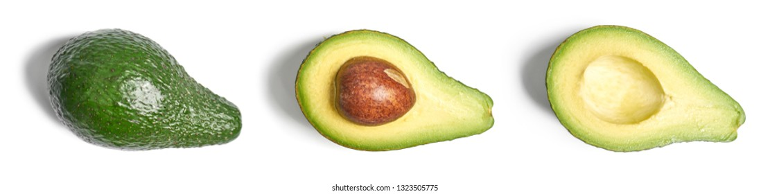 Green avocados on a white background