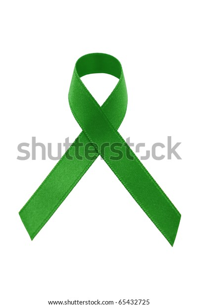 A green awareness ribbon on white background
