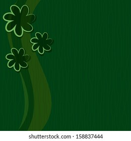 green background. Abstract design with flowers