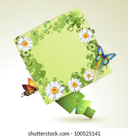 Green background with butterflies, flowers and drops of water