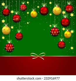 Green background with Christmas balls, confetti and bow, illustration.